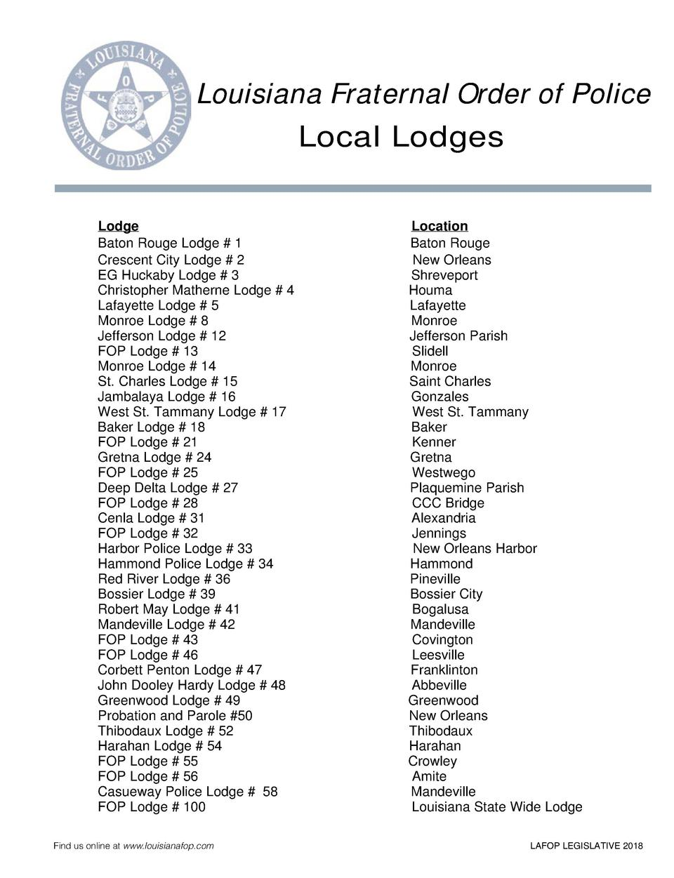 Louisiana Fraternal Order of Police Local Lodges Lodge Baton Rouge Lodge   1 Crescent City Lodge   2 EG Huckaby Lodge   3 ...