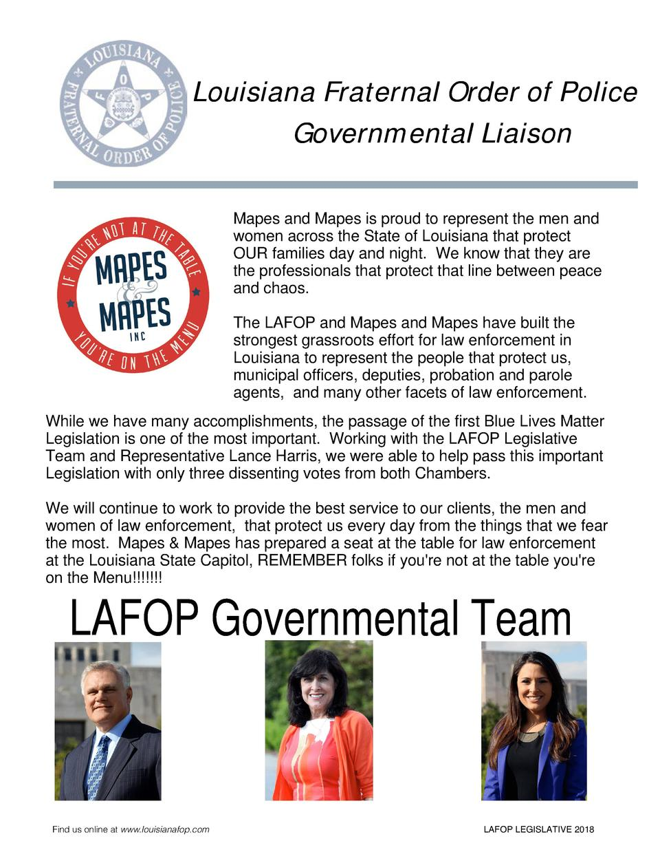 Louisiana Fraternal Order of Police Governmental Liaison Mapes and Mapes is proud to represent the men and women across th...