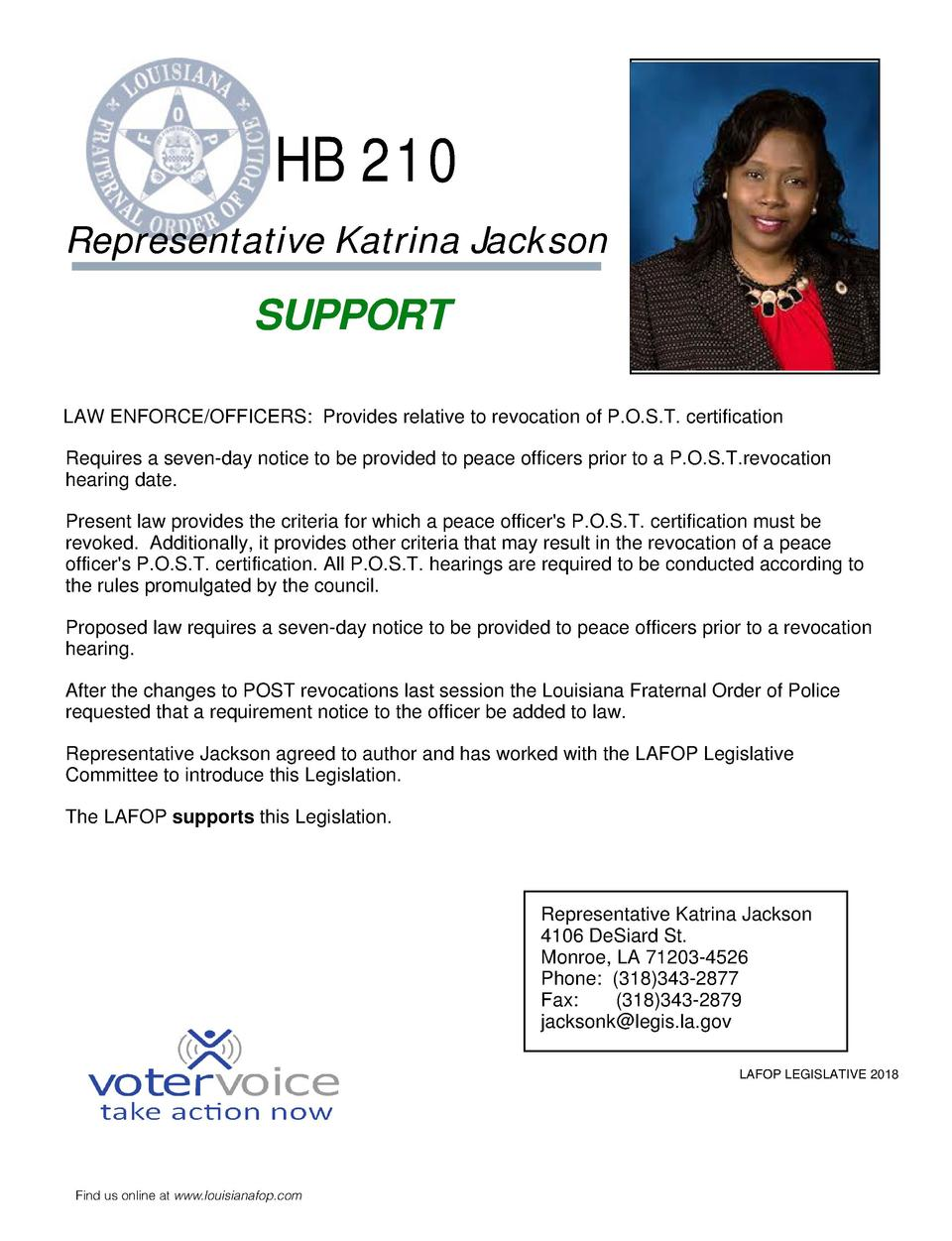 HB 210 Representative Katrina Jackson  SUPPORT LAW ENFORCE OFFICERS  Provides relative to revocation of P.O.S.T. certifica...