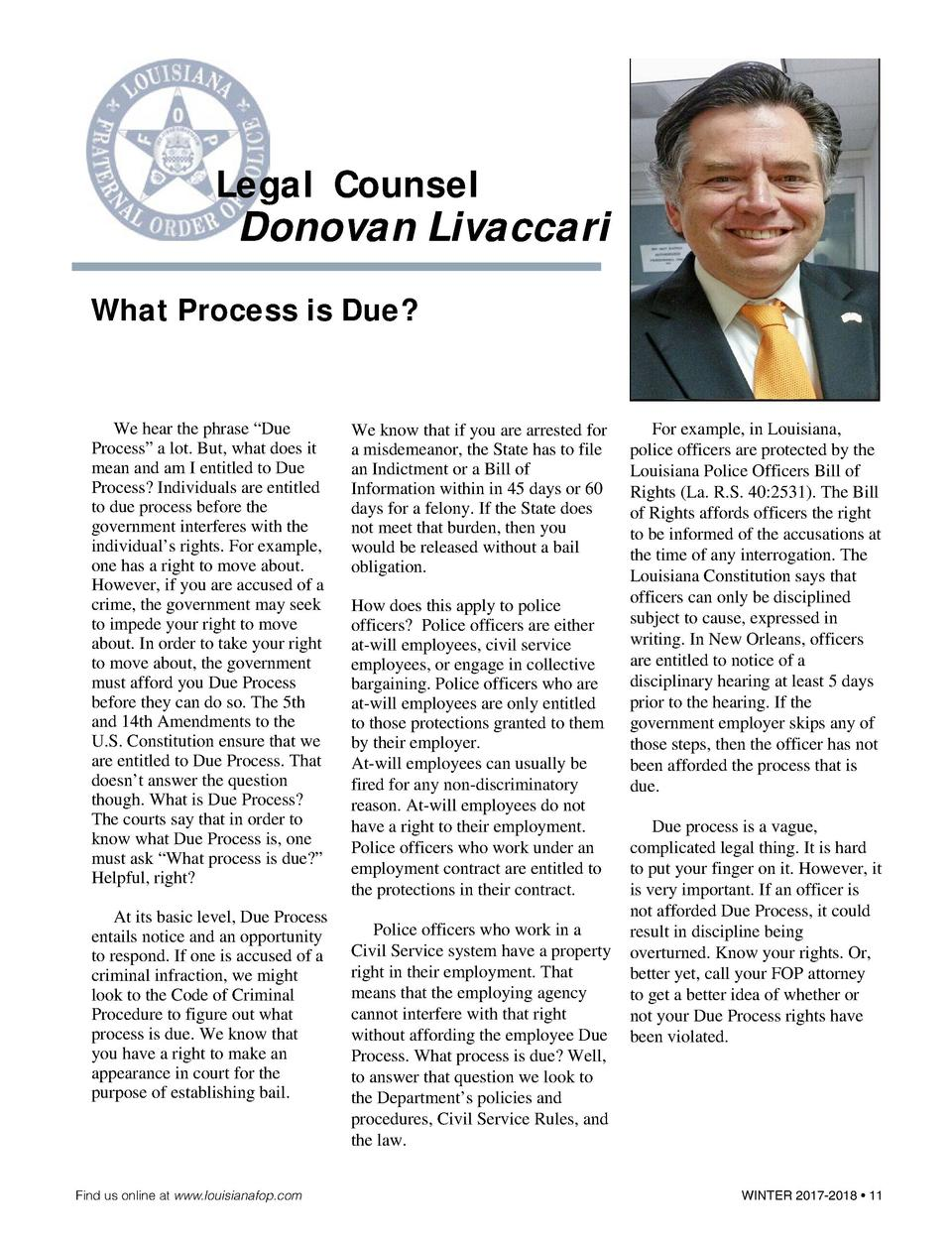 Legal Counsel  Donovan Livaccari  What Process is Due   We hear the phrase    Due Process    a lot. But, what does it mean...