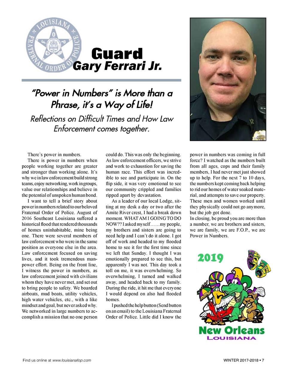 Guard  Gary Ferrari Jr.    Power in Numbers    is More than a Phrase, it   s a Way of Life  Reflections on Difficult Times...