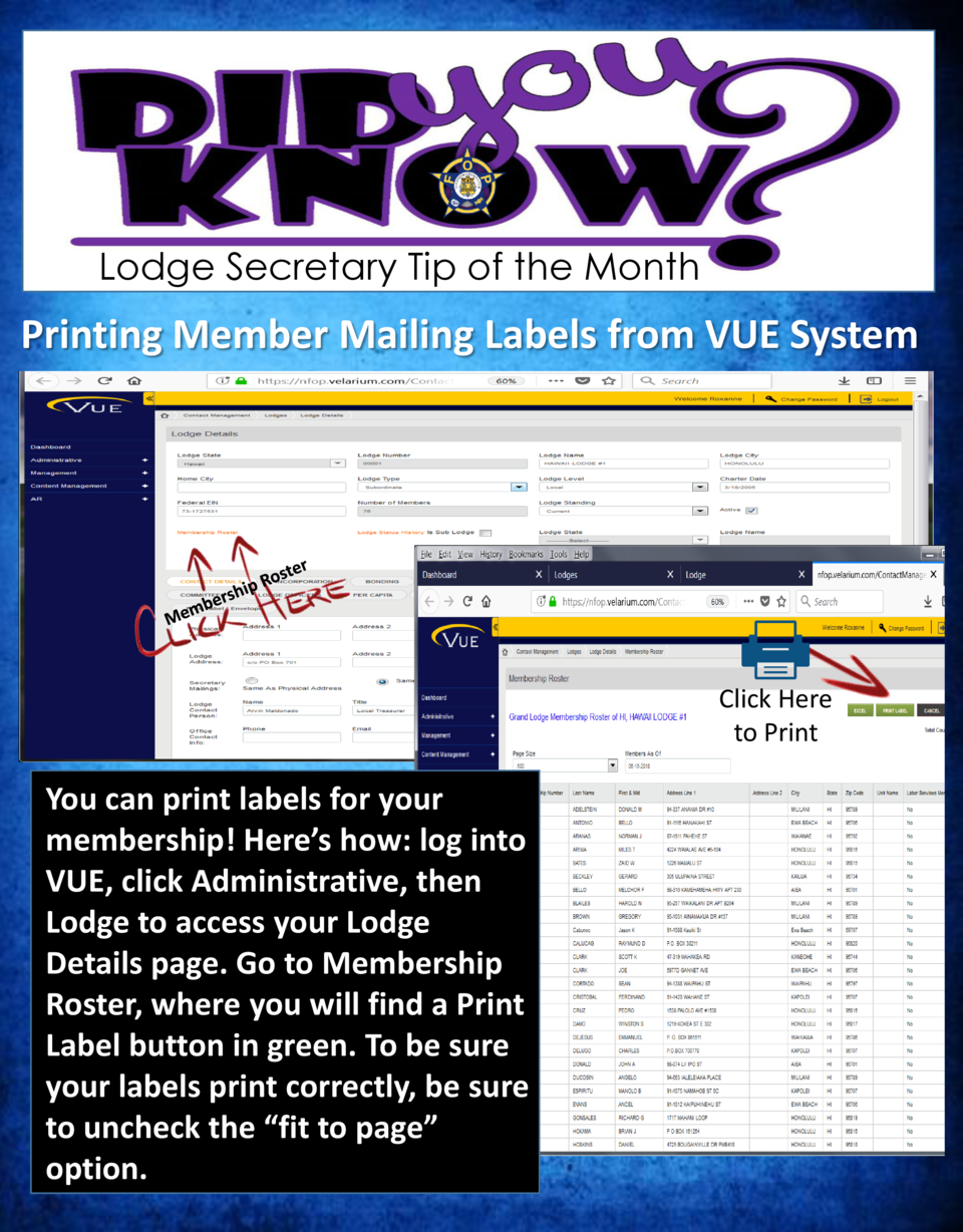 Lodge Secretary Tip of the Month  Printing Member Mailing Labels from VUE System  Click Here to Print  You can print label...