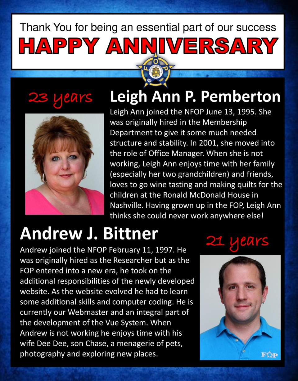 Thank You for being an essential part of our success  23 years Leigh Ann P. Pemberton Leigh Ann joined the NFOP June 13, 1...