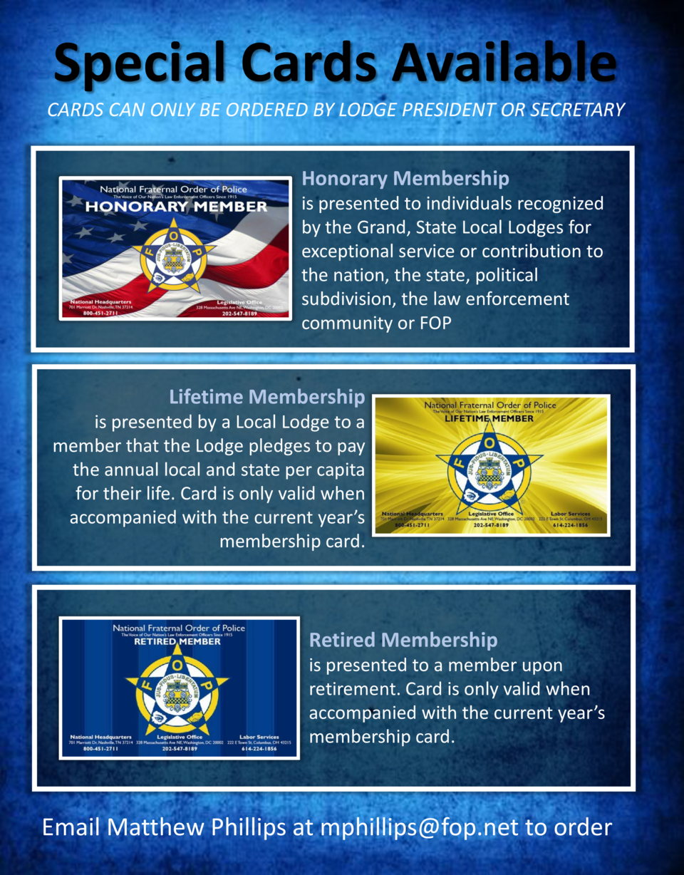 Special Cards Available CARDS CAN ONLY BE ORDERED BY LODGE PRESIDENT OR SECRETARY  Honorary Membership is presented to ind...