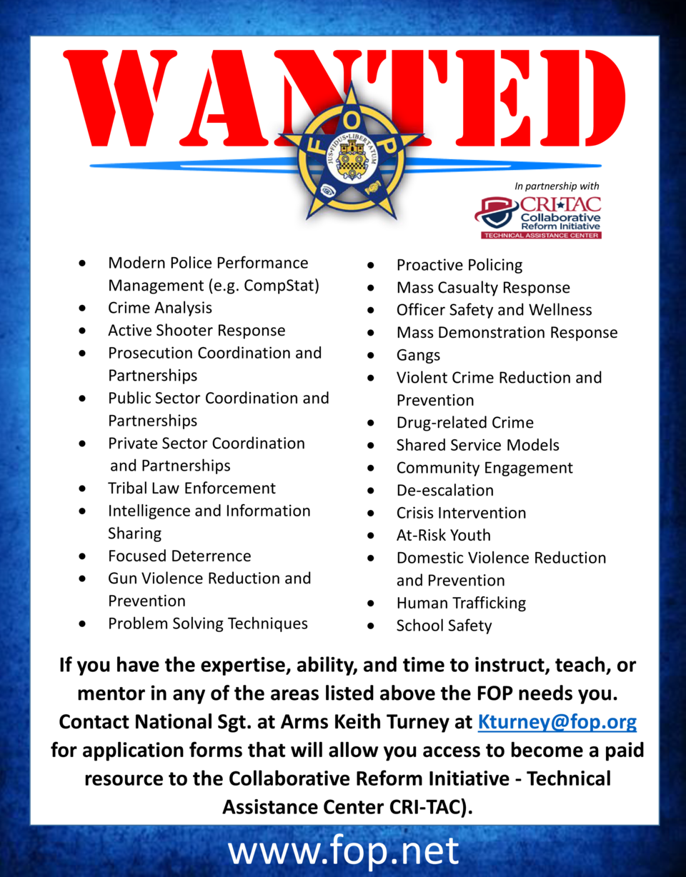 WANTED In partnership with                                               Modern Police Performance Management  e.g. CompSt...