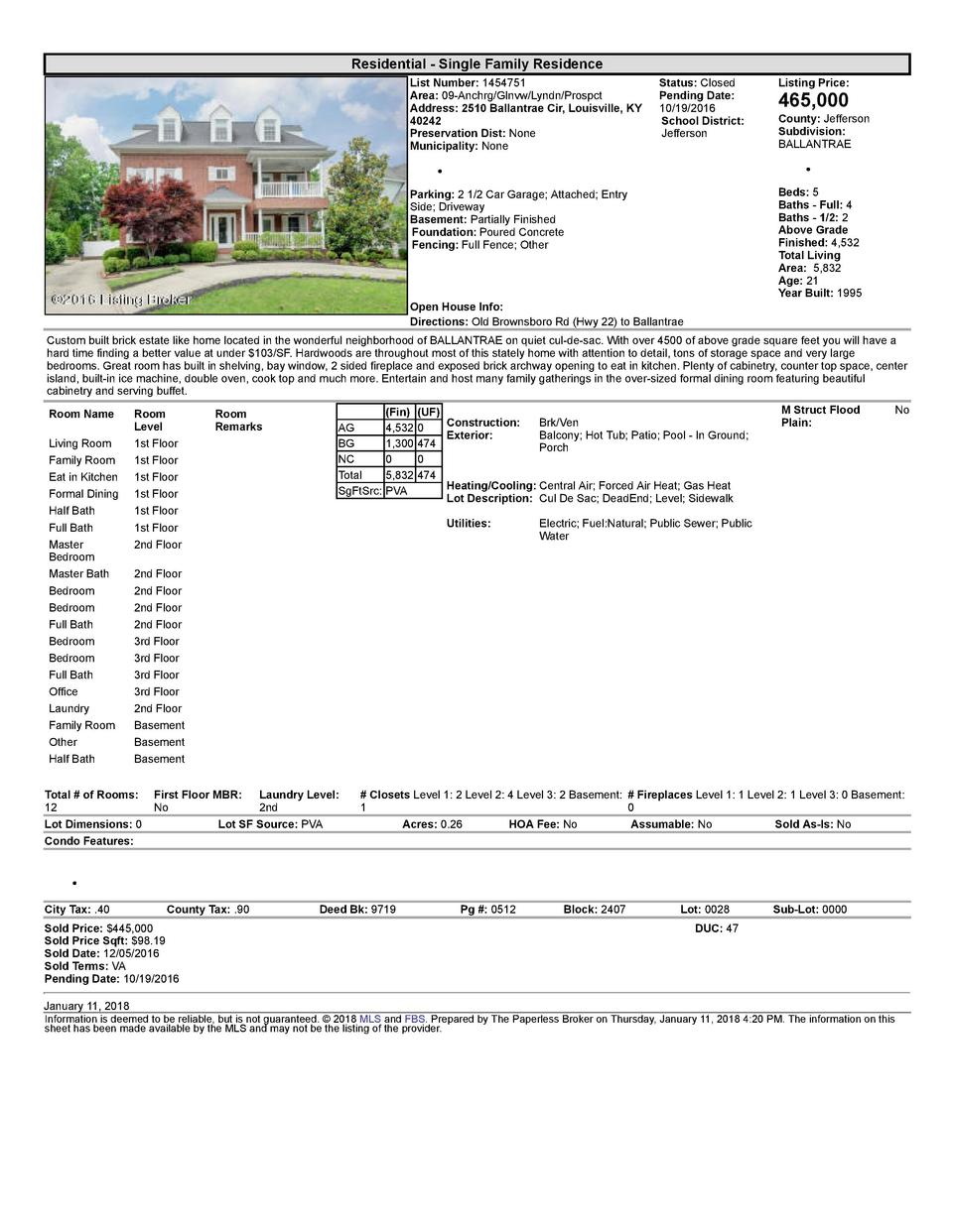 Residential      Single  Family  Residence List  Number   1454751 Area   09  Anchrg Glnvw Lyndn Prospct Address   2510 ...
