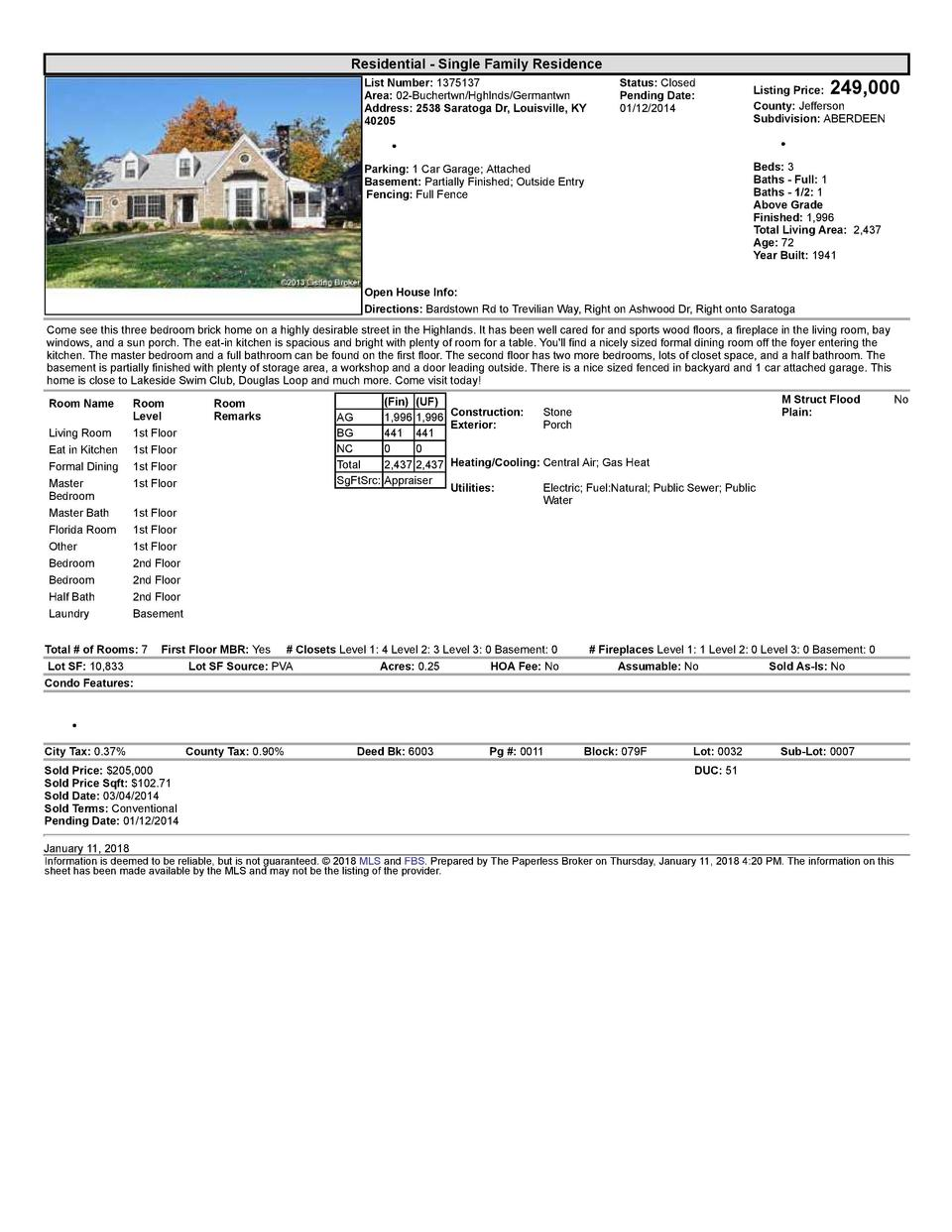 Residential      Single  Family  Residence List  Number   1375137 Area   02  Buchertwn Hghlnds Germantwn Address   2538...