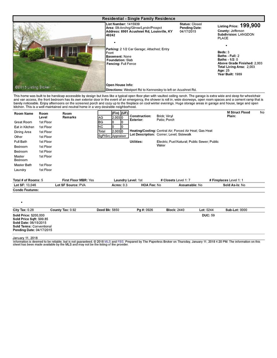 Residential      Single  Family  Residence List  Number   1415939 Area   09  Anchrg Glnvw Lyndn Prospct Address   8901 ...