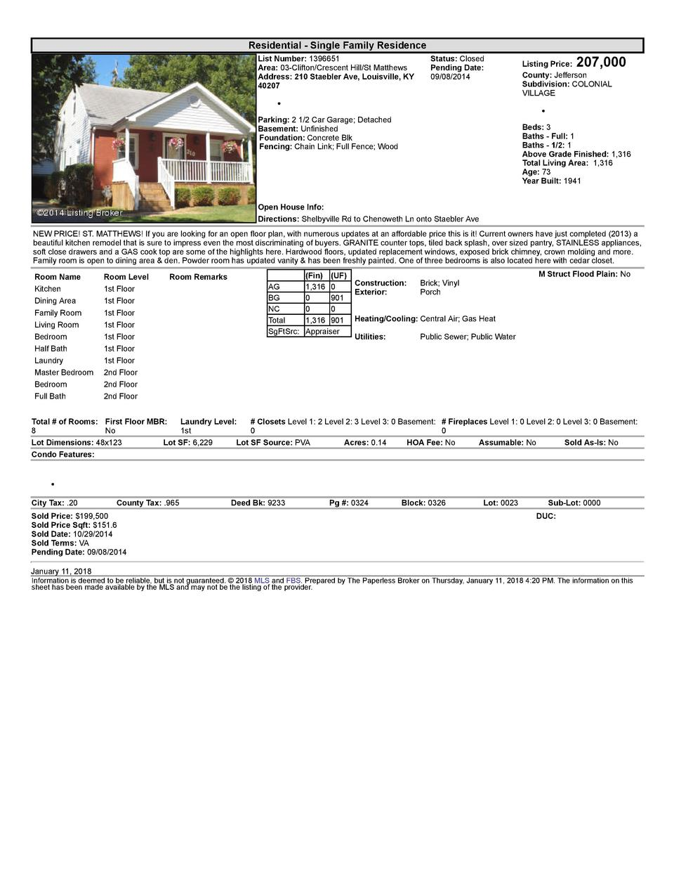 Residential      Single  Family  Residence List  Number   1396651 Area   03  Clifton Crescent  Hill St  Matthews Addres...