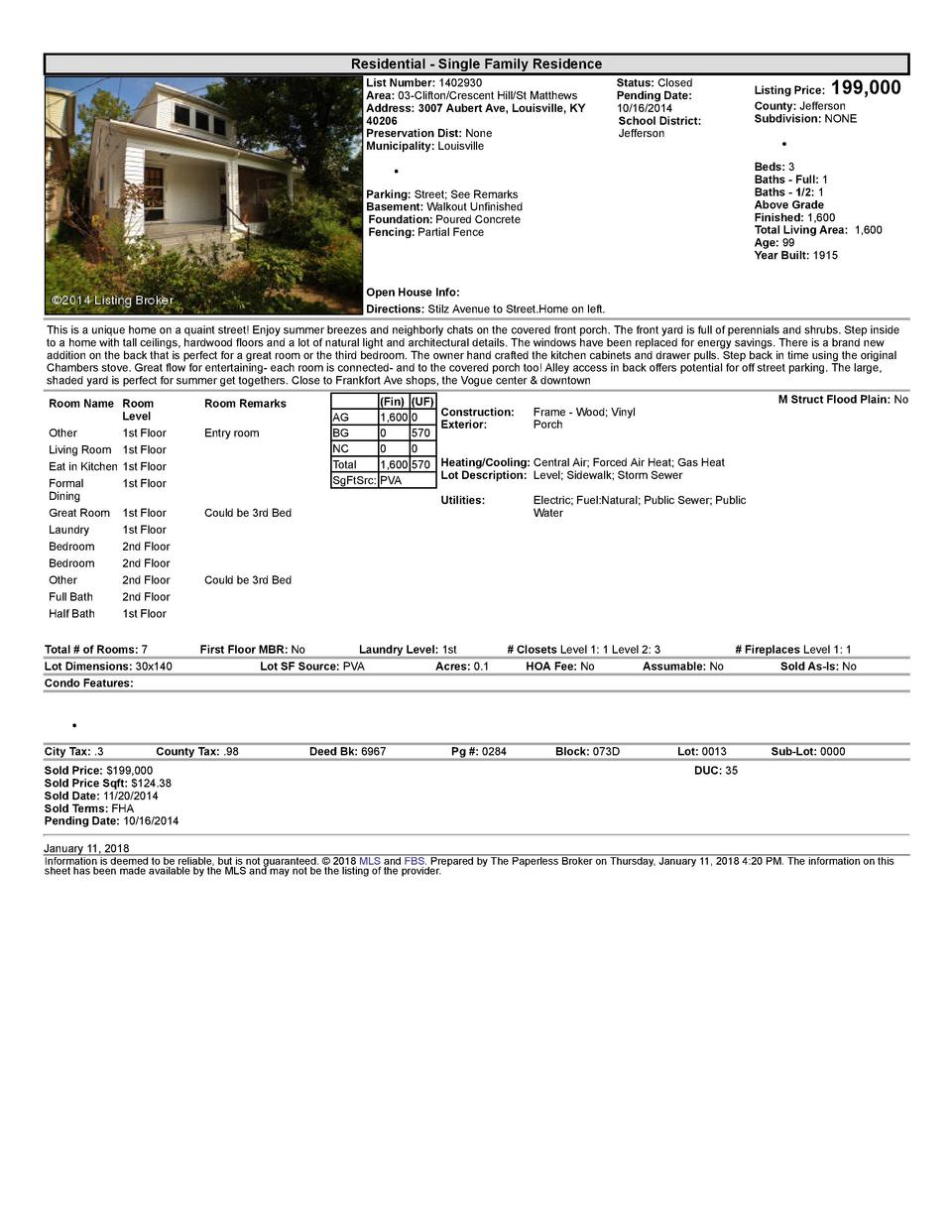 Residential      Single  Family  Residence List  Number   1402930 Area   03  Clifton Crescent  Hill St  Matthews Addres...