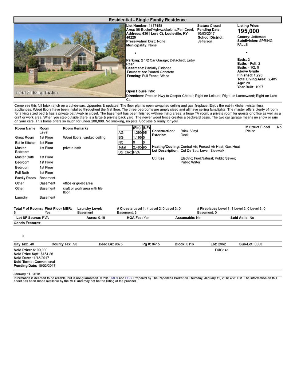 Residential      Single  Family  Residence List  Number   1487458    Status   Closed Area   06  Buchel Hghvw okolona Fe...