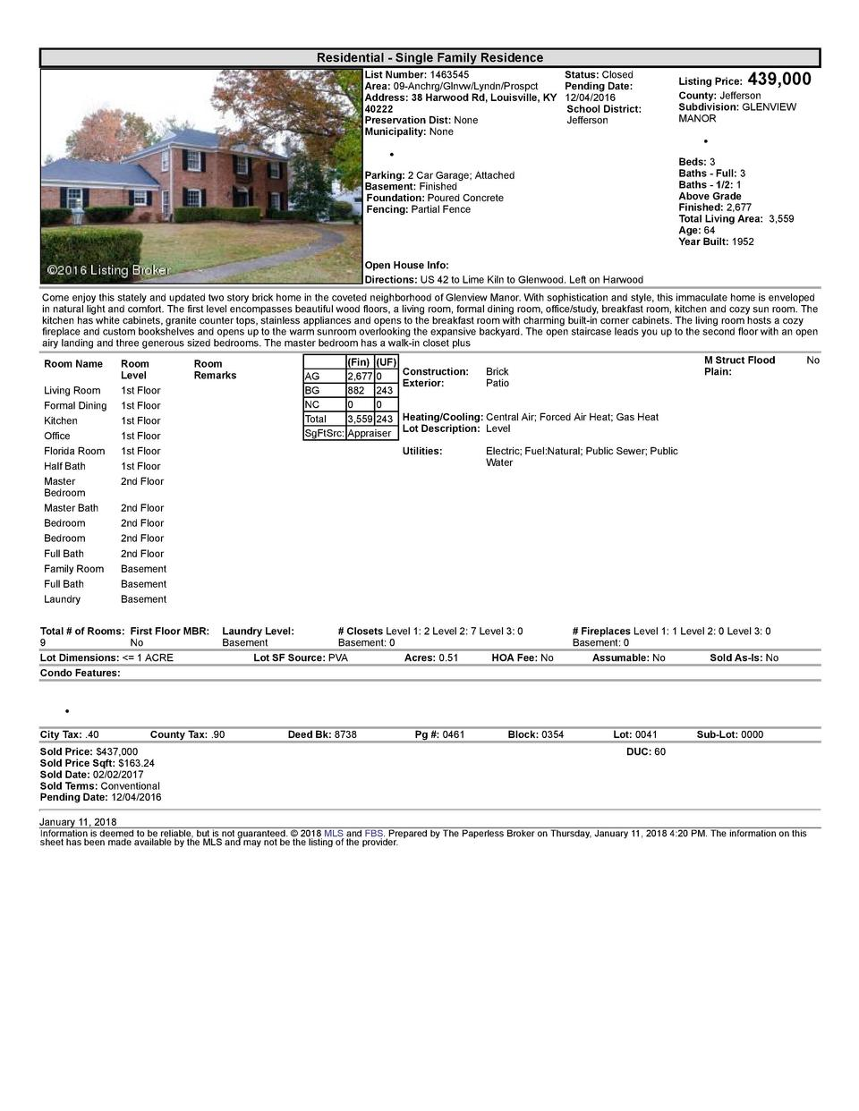 Residential      Single  Family  Residence List  Number   1463545 Area   09  Anchrg Glnvw Lyndn Prospct Address   38  H...