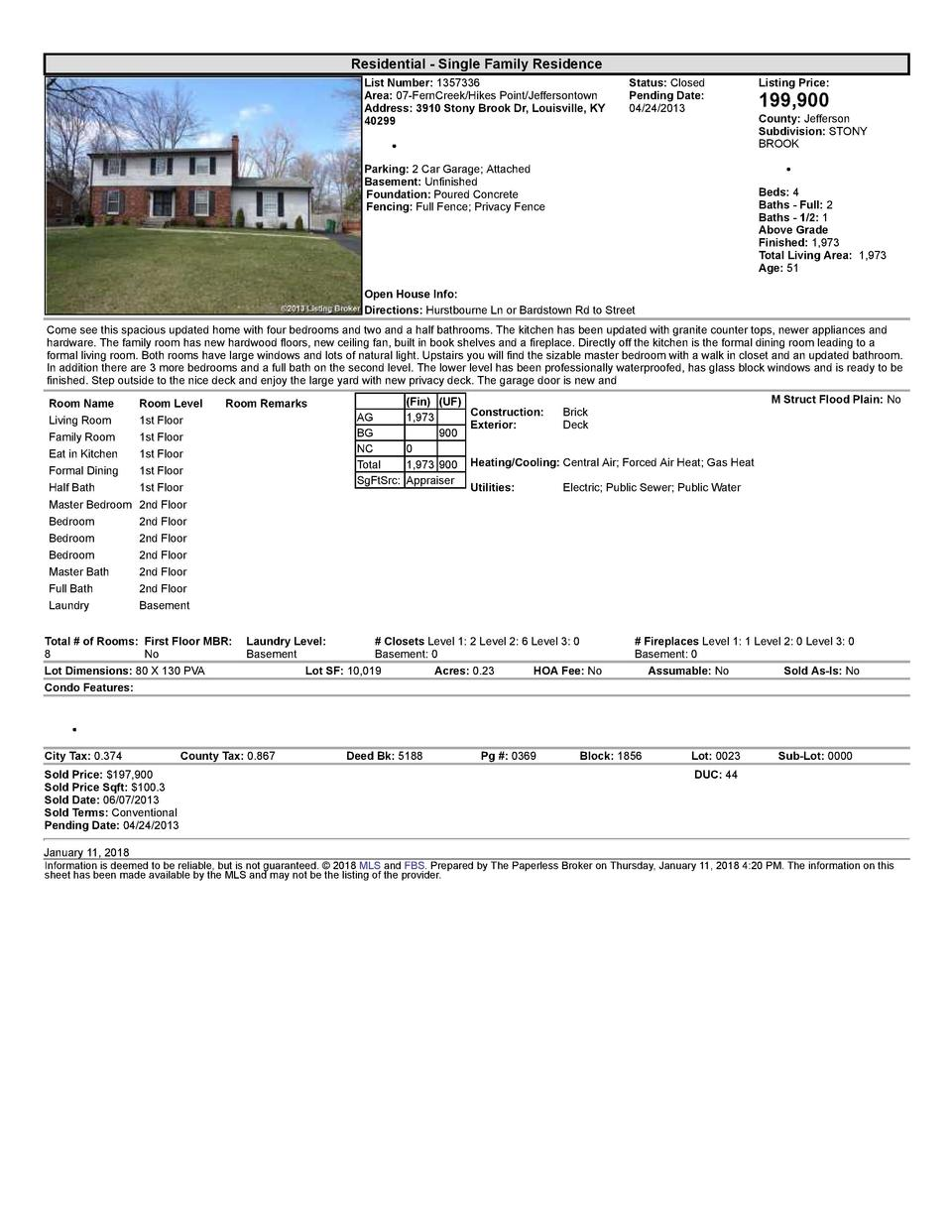 Residential      Single  Family  Residence List  Number   1357336 Area   07  FernCreek Hikes  Point Jeffersontown Addre...