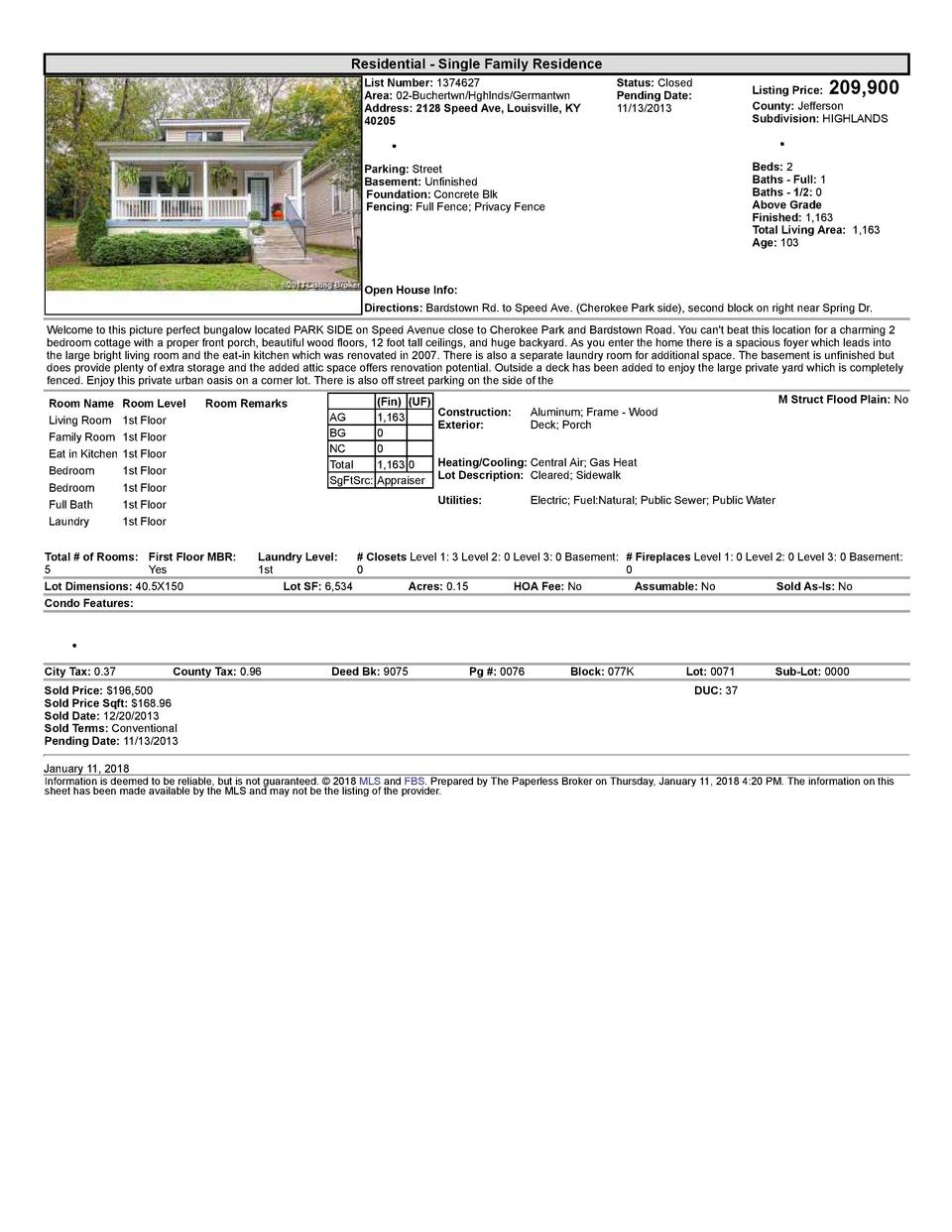 Residential      Single  Family  Residence List  Number   1374627 Area   02  Buchertwn Hghlnds Germantwn Address   2128...