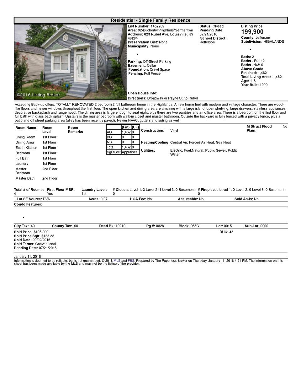 Residential      Single  Family  Residence List  Number   1452289 Area   02  Buchertwn Hghlnds Germantwn Address   623 ...