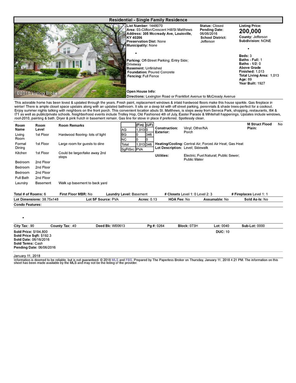 Residential      Single  Family  Residence List  Number   1448070 Area   03  Clifton Crescent  Hill St  Matthews Addres...
