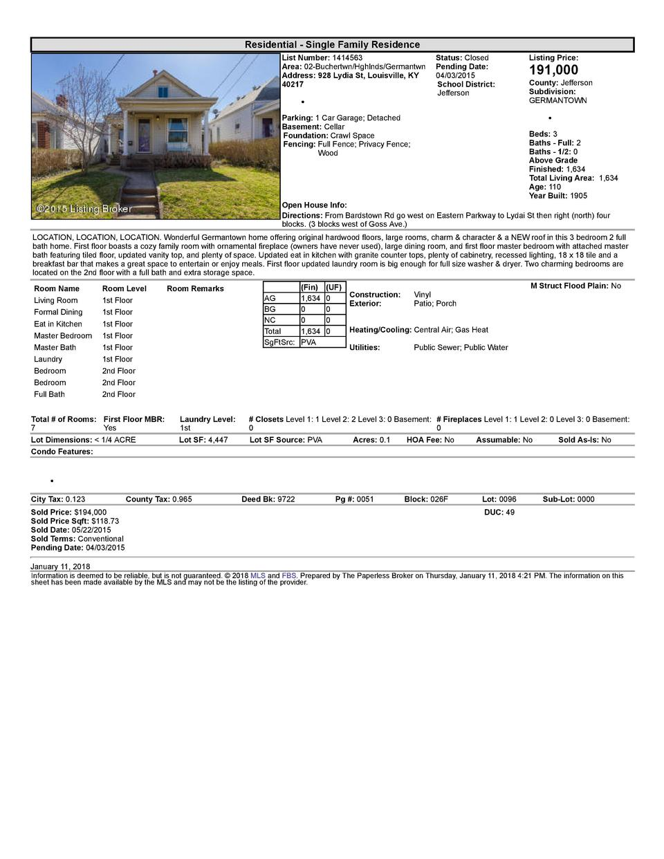 Residential      Single  Family  Residence List  Number   1414563    Status   Closed Area   02  Buchertwn Hghlnds Germa...