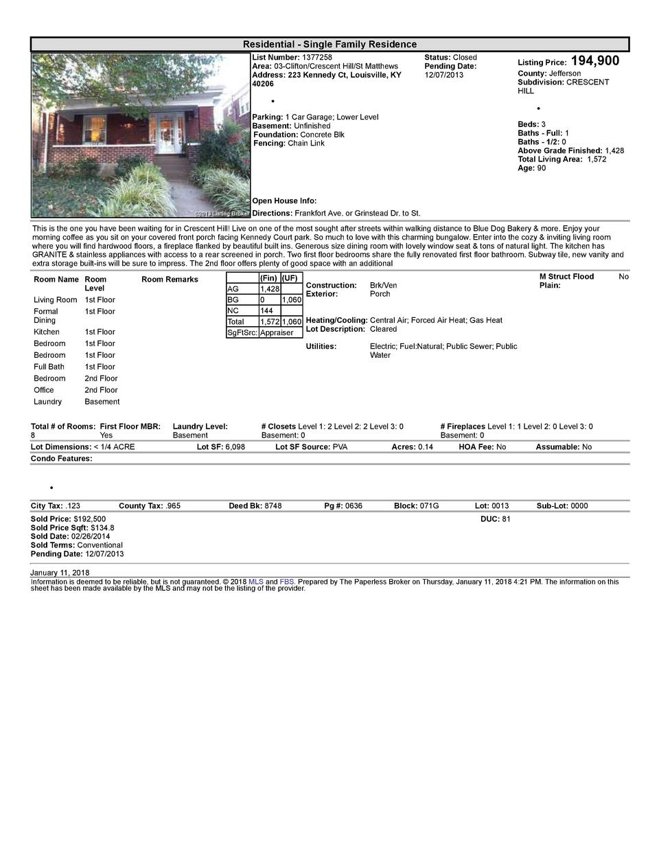 Residential      Single  Family  Residence List  Number   1377258 Area   03  Clifton Crescent  Hill St  Matthews Addres...