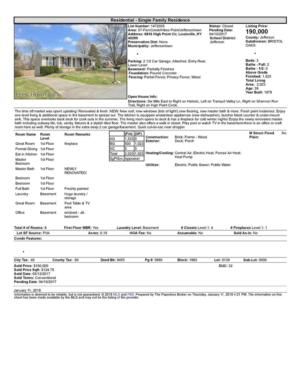 Residential      Single  Family  Residence List  Number   1472035 Area   07  FernCreek Hikes  Point Jeffersontown Addre...