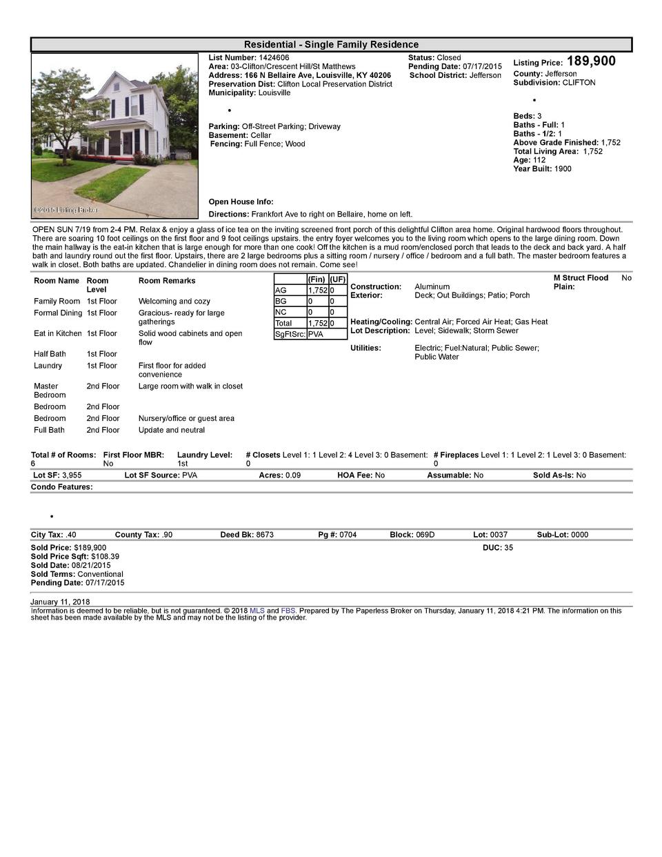 Residential      Single  Family  Residence List  Number   1424606    Area   03  Clifton Crescent  Hill St  Matthews Add...