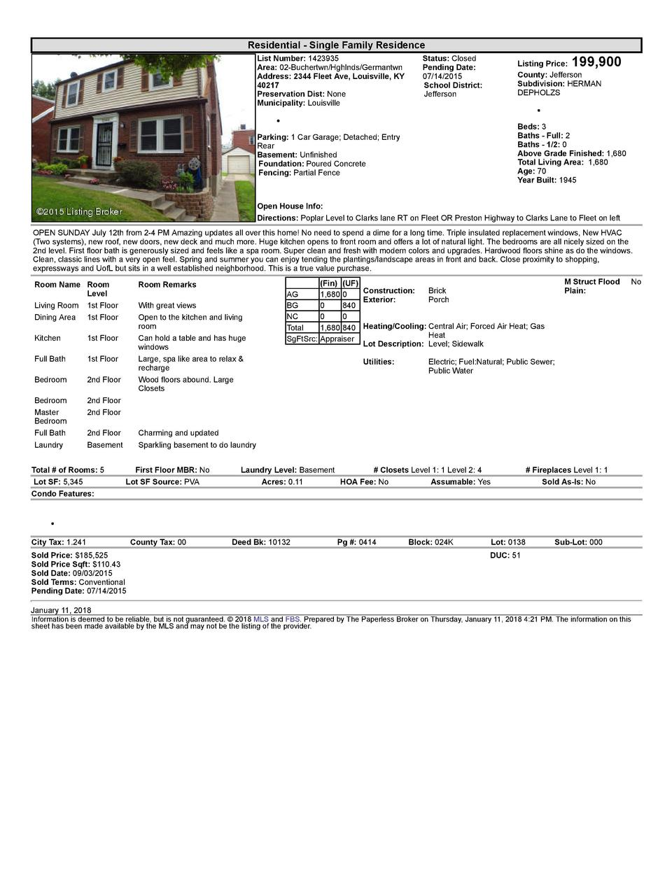 Residential      Single  Family  Residence List  Number   1423935 Area   02  Buchertwn Hghlnds Germantwn Address   2344...