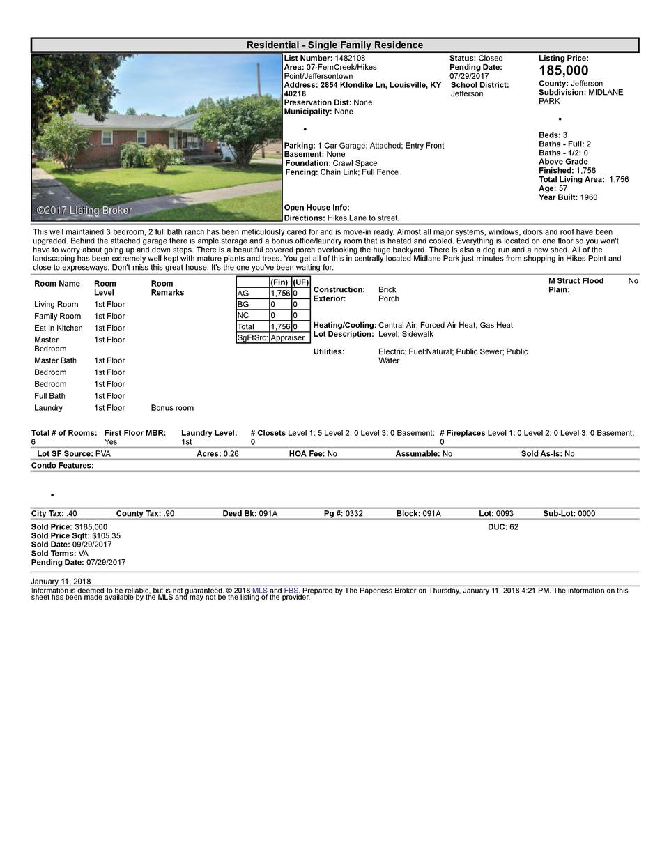 Residential      Single  Family  Residence List  Number   1482108    Status   Closed Area   07  FernCreek Hikes Pending...