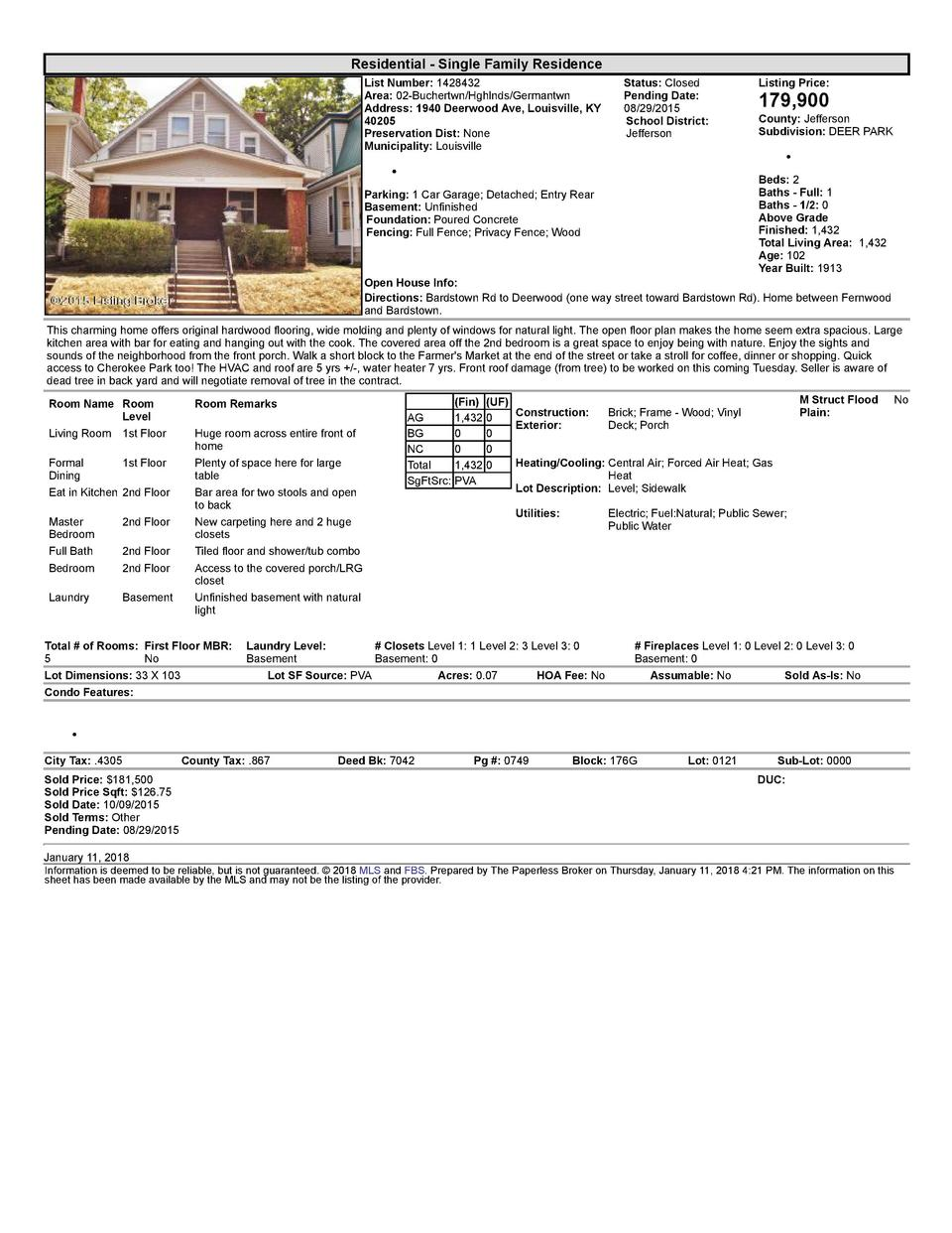 Residential      Single  Family  Residence List  Number   1428432 Area   02  Buchertwn Hghlnds Germantwn Address   1940...