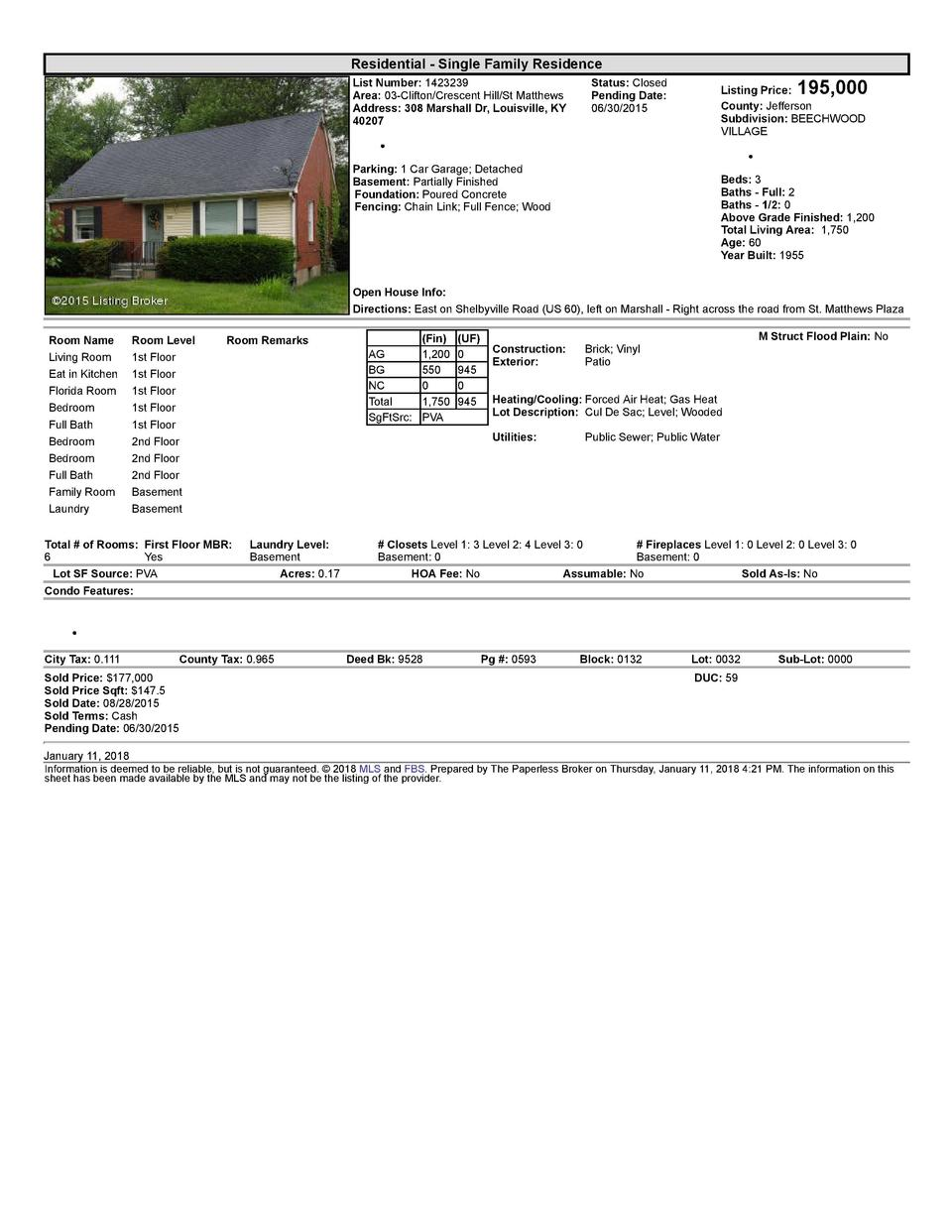 Residential      Single  Family  Residence List  Number   1423239 Area   03  Clifton Crescent  Hill St  Matthews Addres...