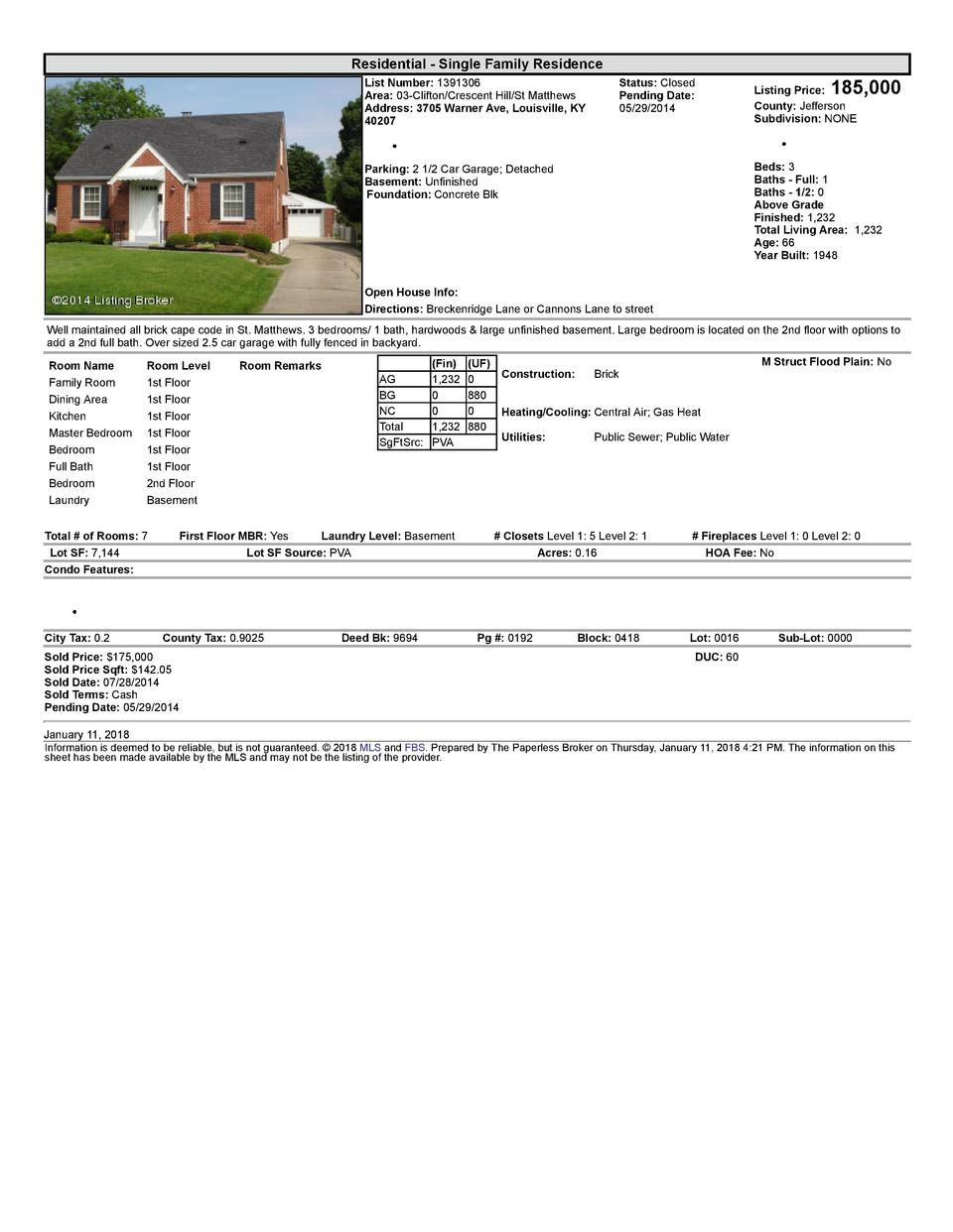 Residential      Single  Family  Residence List  Number   1391306 Area   03  Clifton Crescent  Hill St  Matthews Addres...