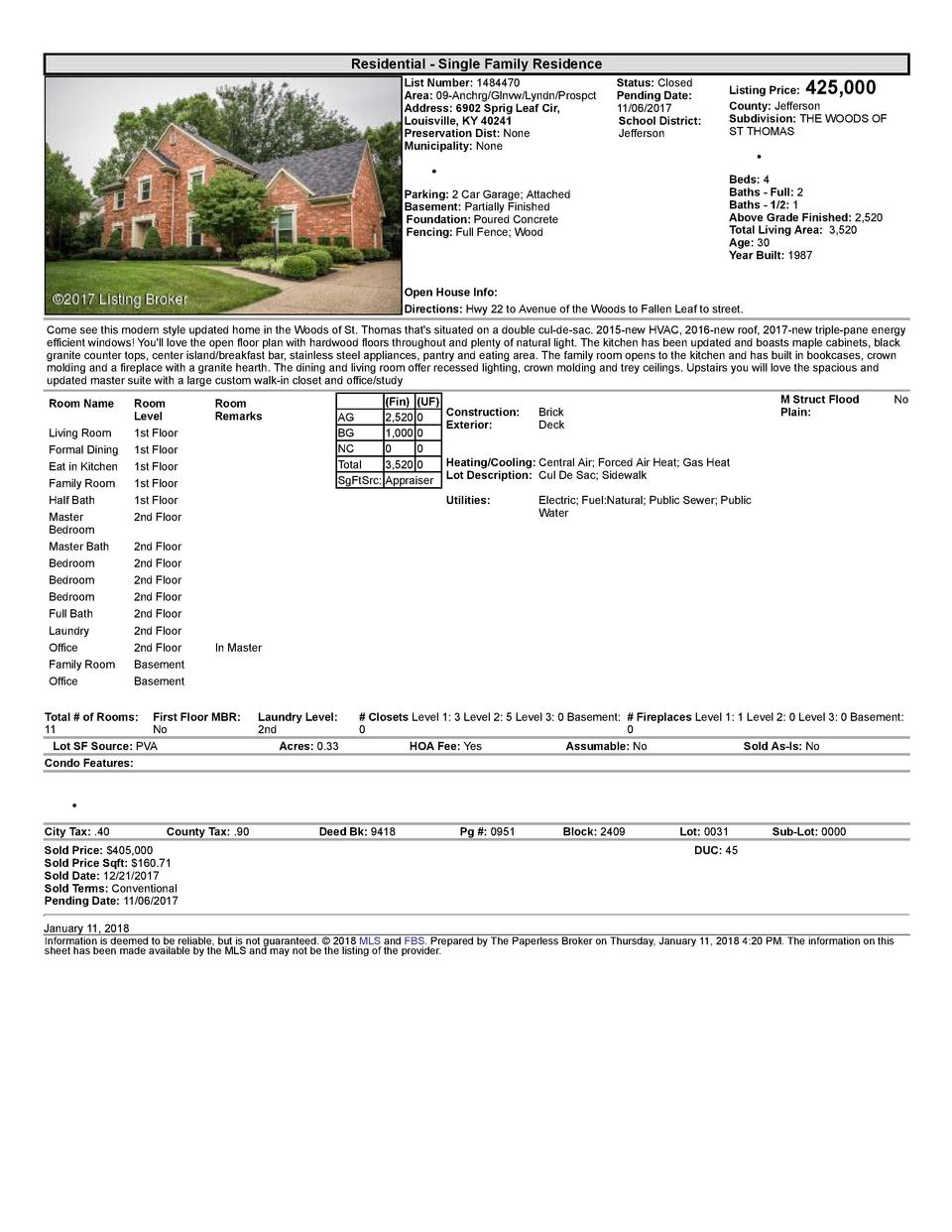 Residential      Single  Family  Residence List  Number   1484470 Area   09  Anchrg Glnvw Lyndn Prospct Address   6902 ...