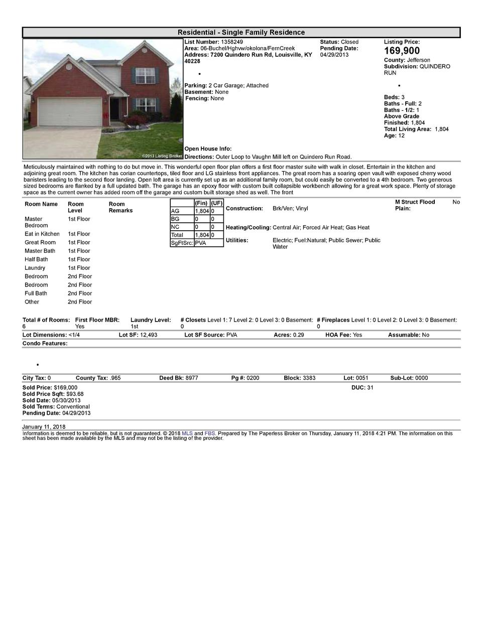 Residential      Single  Family  Residence List  Number   1358249    Status   Closed Area   06  Buchel Hghvw okolona Fe...