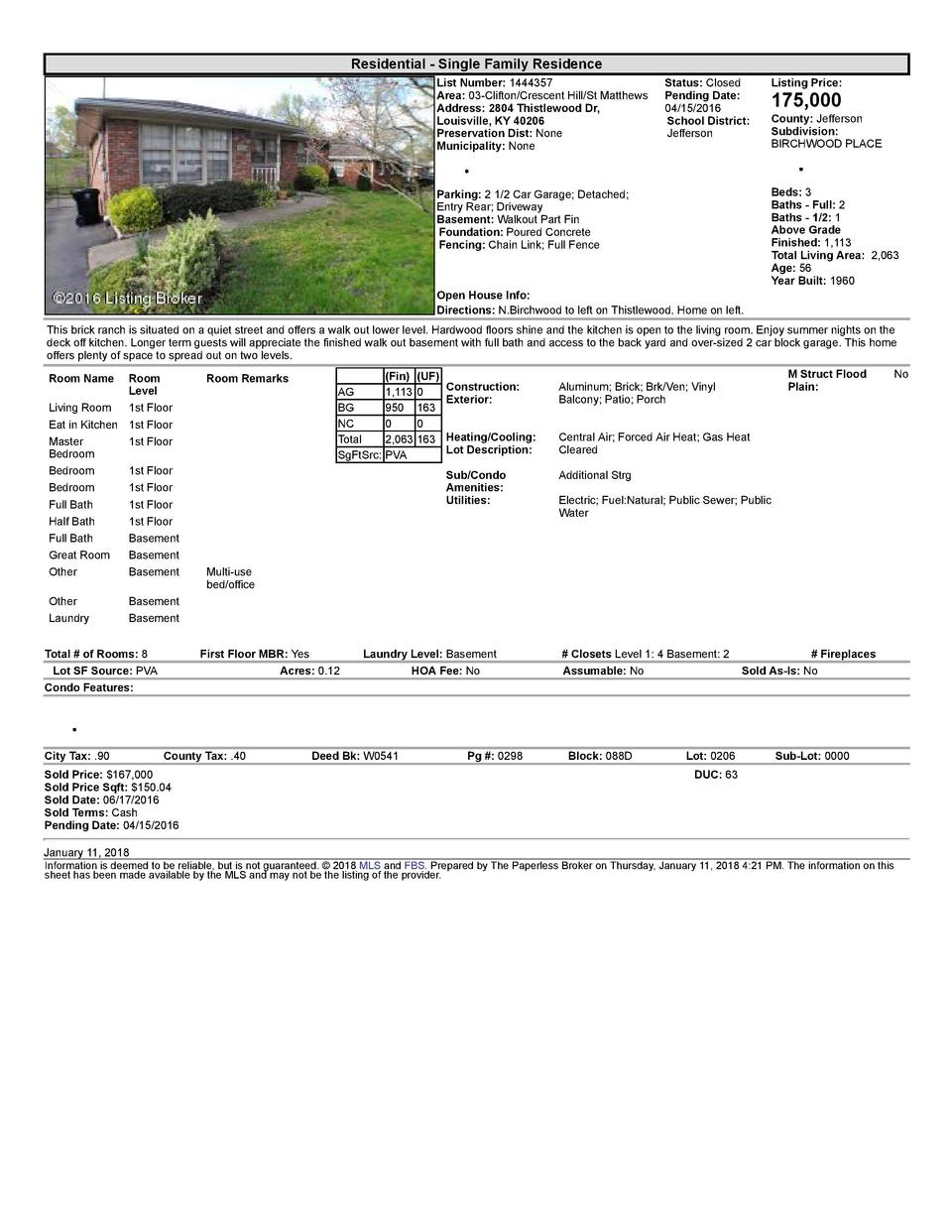 Residential      Single  Family  Residence List  Number   1444357 Area   03  Clifton Crescent  Hill St  Matthews Addres...