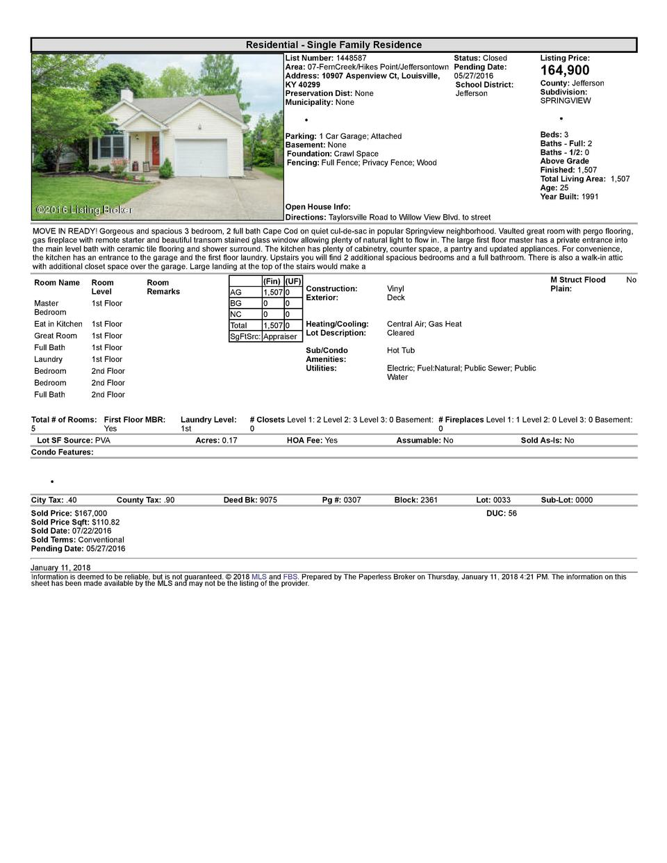 Residential      Single  Family  Residence List  Number   1448587    Status   Closed Area   07  FernCreek Hikes  Point ...
