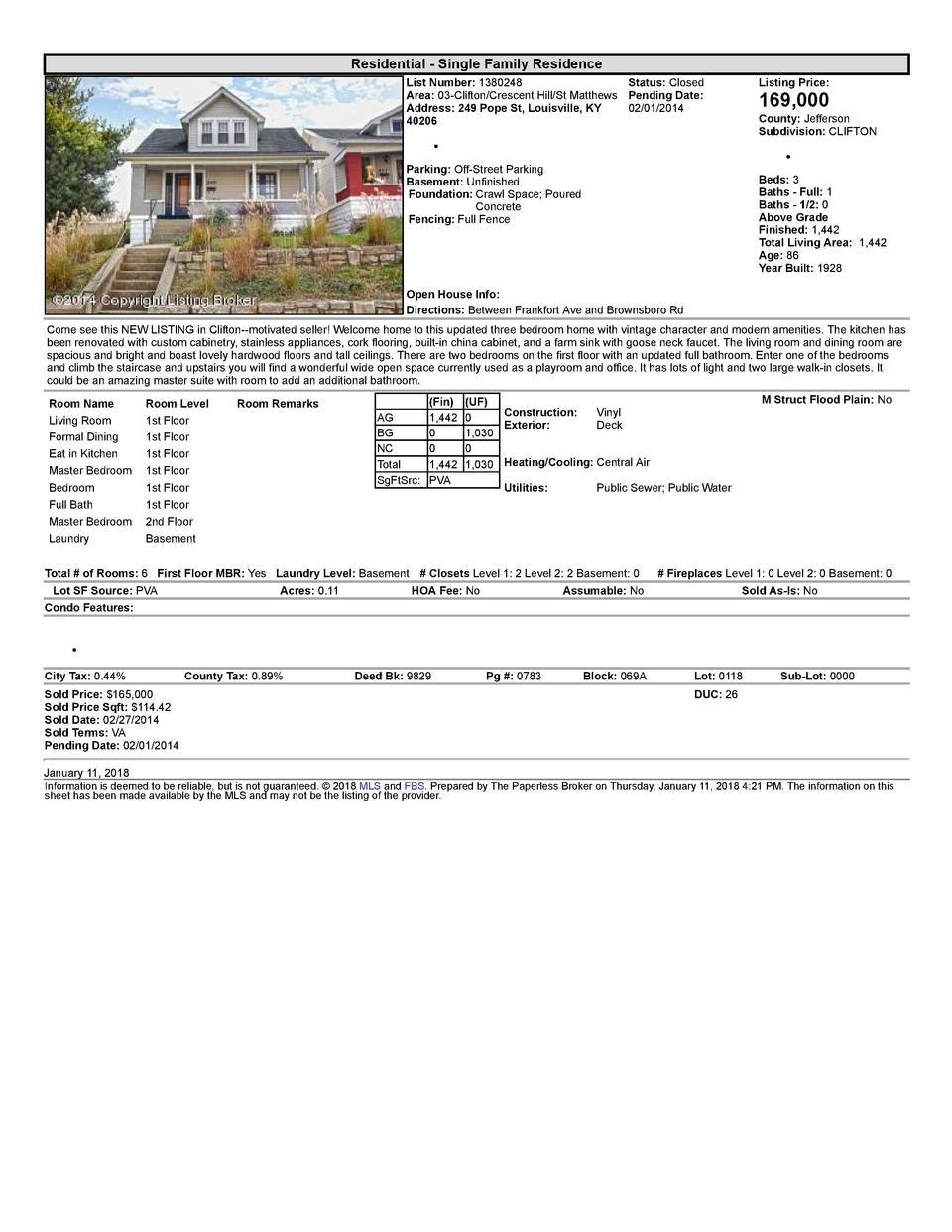 Residential      Single  Family  Residence List  Number   1380248    Status   Closed Area   03  Clifton Crescent  Hill ...