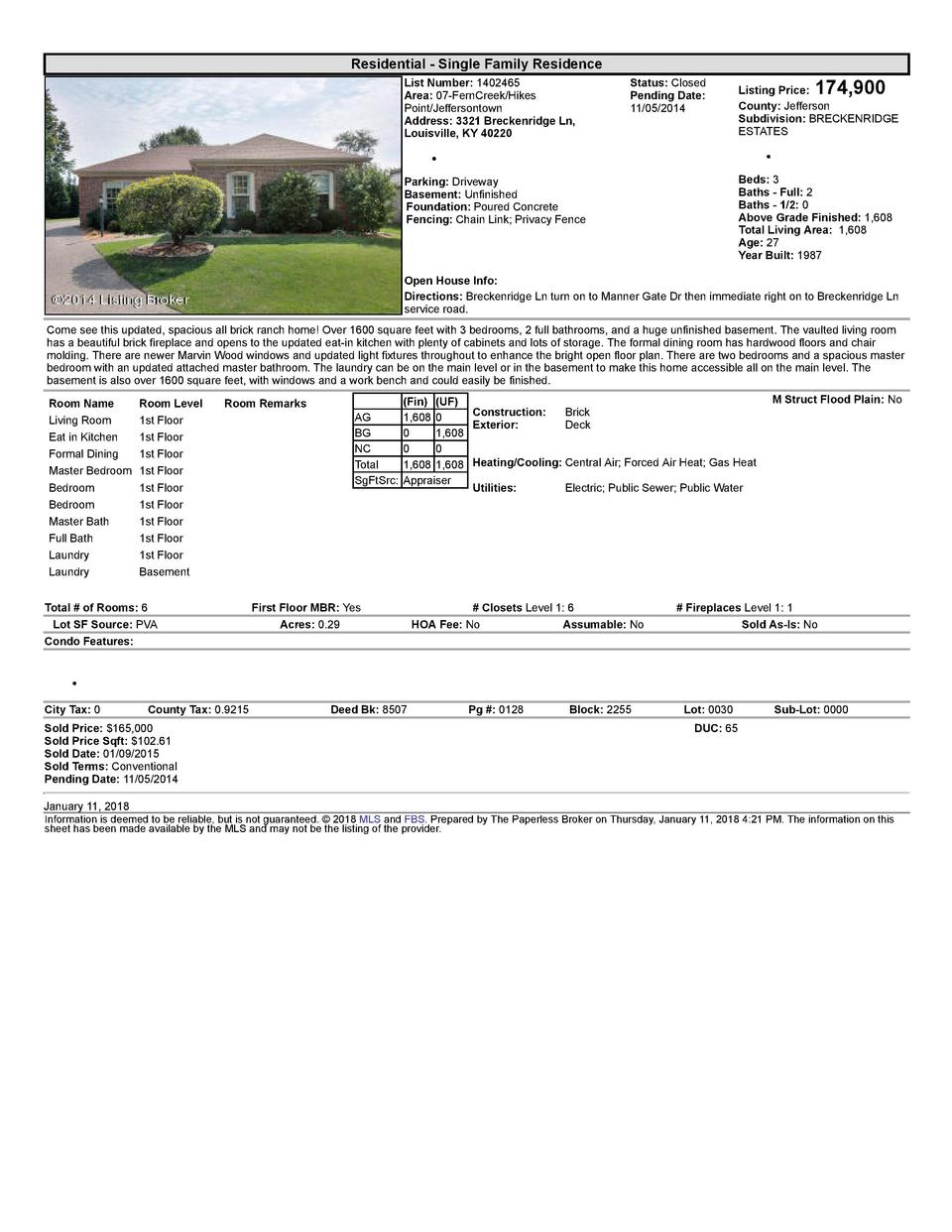 Residential      Single  Family  Residence List  Number   1402465 Area   07  FernCreek Hikes Point Jeffersontown Addres...