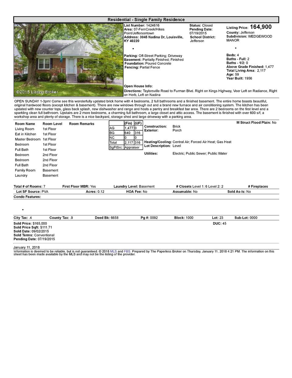 Residential      Single  Family  Residence List  Number   1424616 Area   07  FernCreek Hikes Point Jeffersontown Addres...