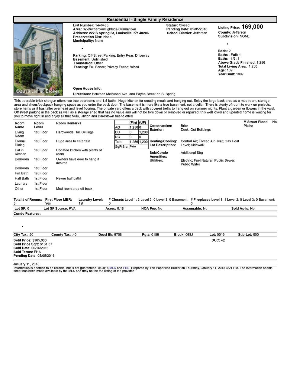 Residential      Single  Family  Residence List  Number   1446435    Area   02  Buchertwn Hghlnds Germantwn Address   2...