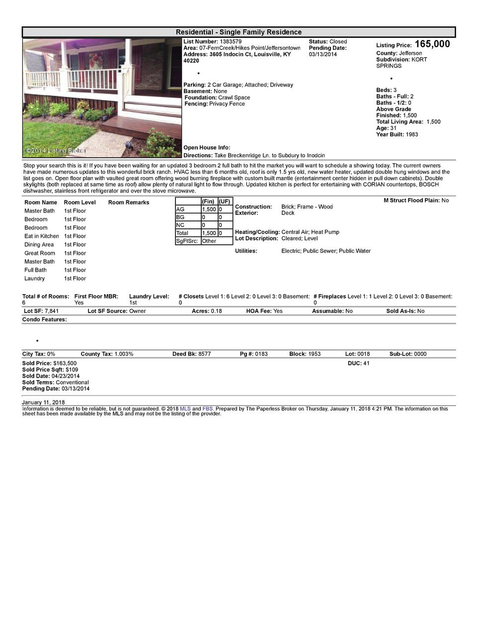 Residential      Single  Family  Residence List  Number   1383579 Area   07  FernCreek Hikes  Point Jeffersontown Addre...