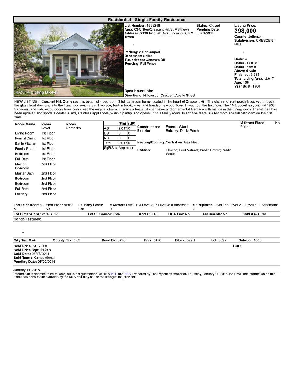 Residential      Single  Family  Residence List  Number   1389248    Status   Closed Area   03  Clifton Crescent  Hill ...