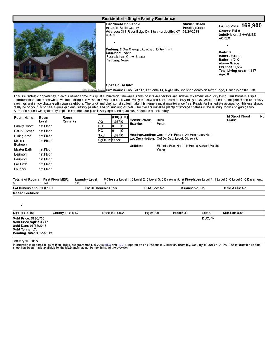 Residential      Single  Family  Residence List  Number   1356519    Status   Closed Area   11  Bullitt  County Pending...