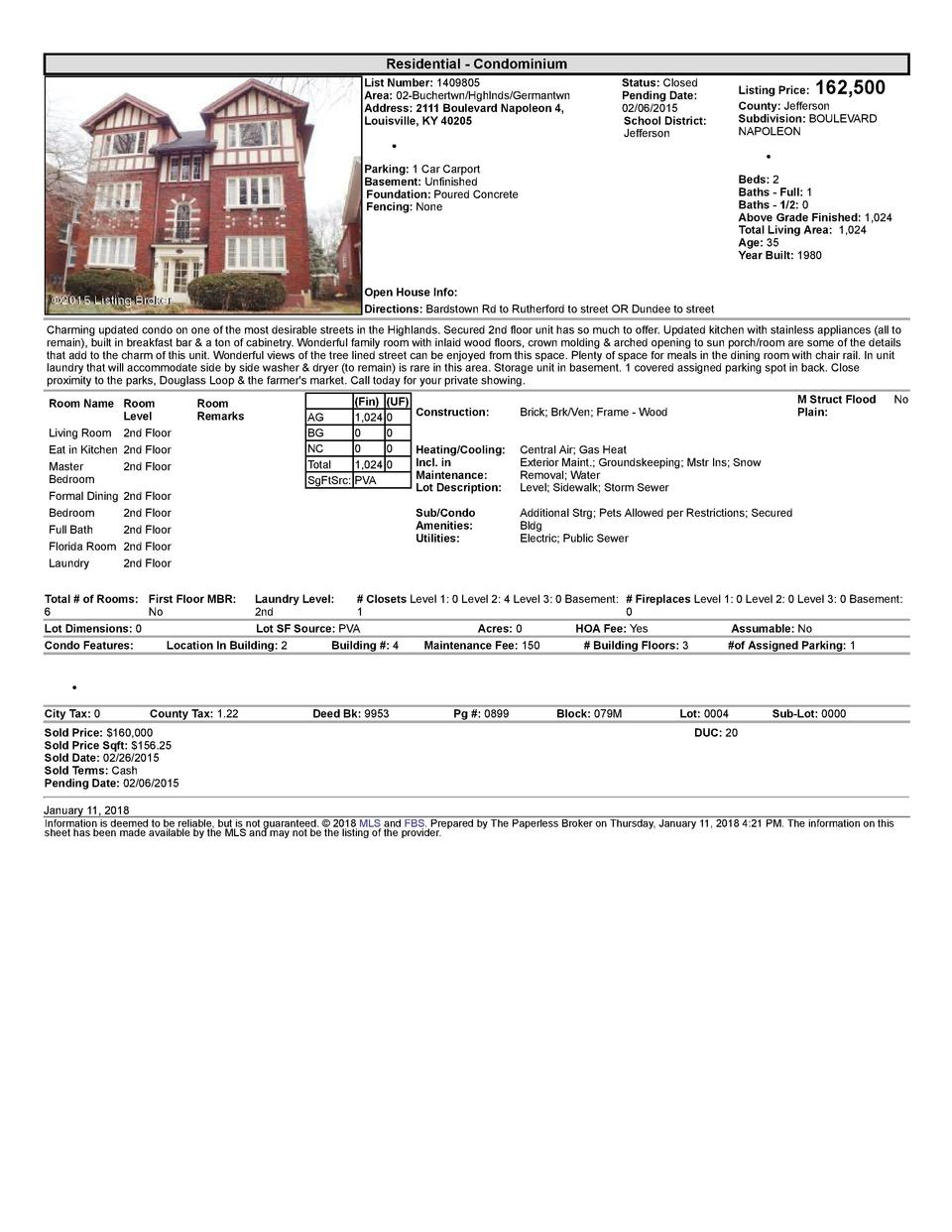 Residential      Condominium List  Number   1409805 Area   02  Buchertwn Hghlnds Germantwn Address   2111  Boulevard  N...
