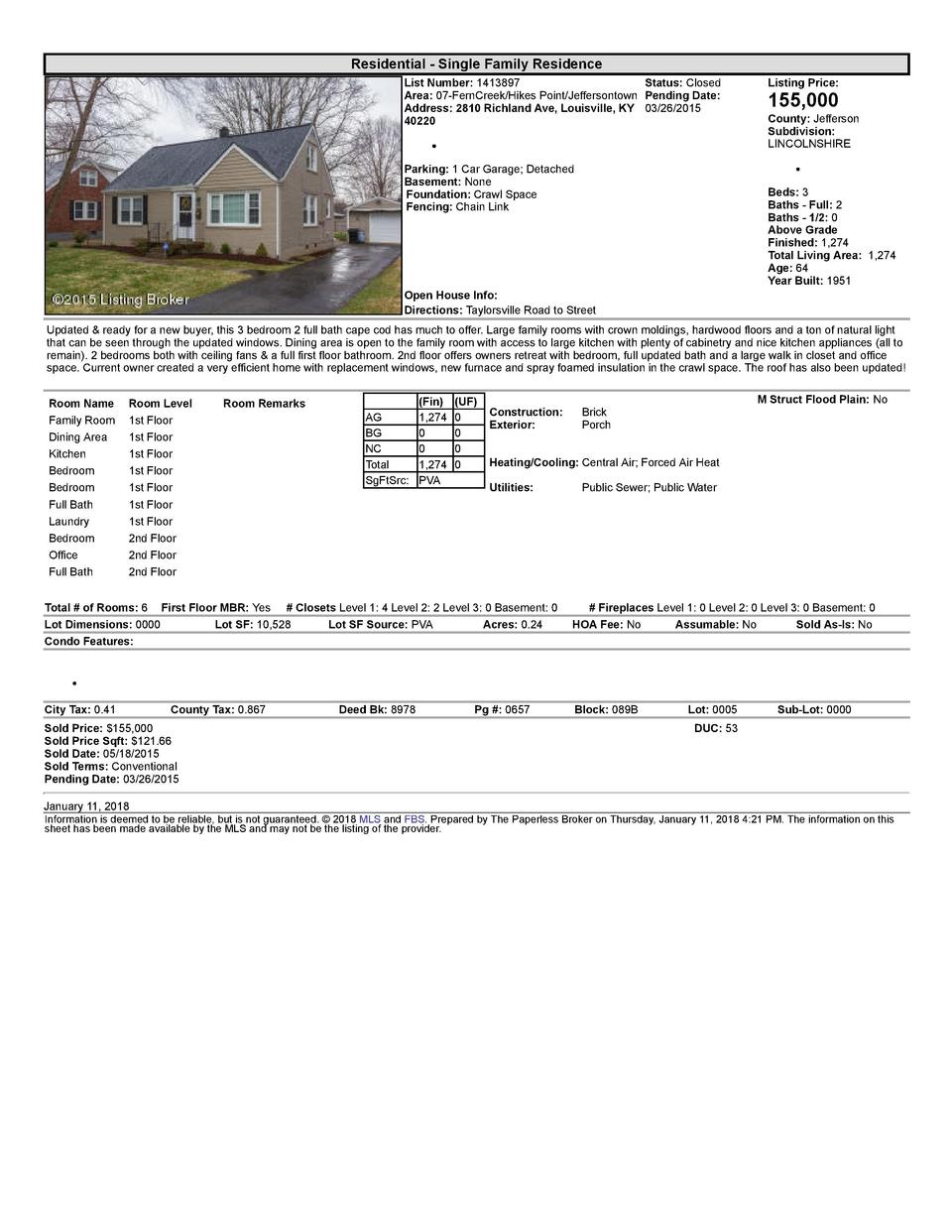 Residential      Single  Family  Residence List  Number   1413897    Status   Closed Area   07  FernCreek Hikes  Point ...