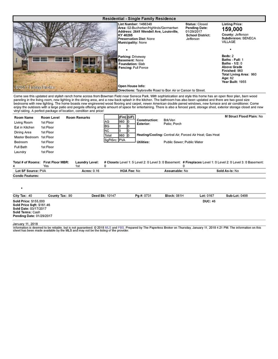 Residential      Single  Family  Residence List  Number   1466348 Area   02  Buchertwn Hghlnds Germantwn Address   2641...