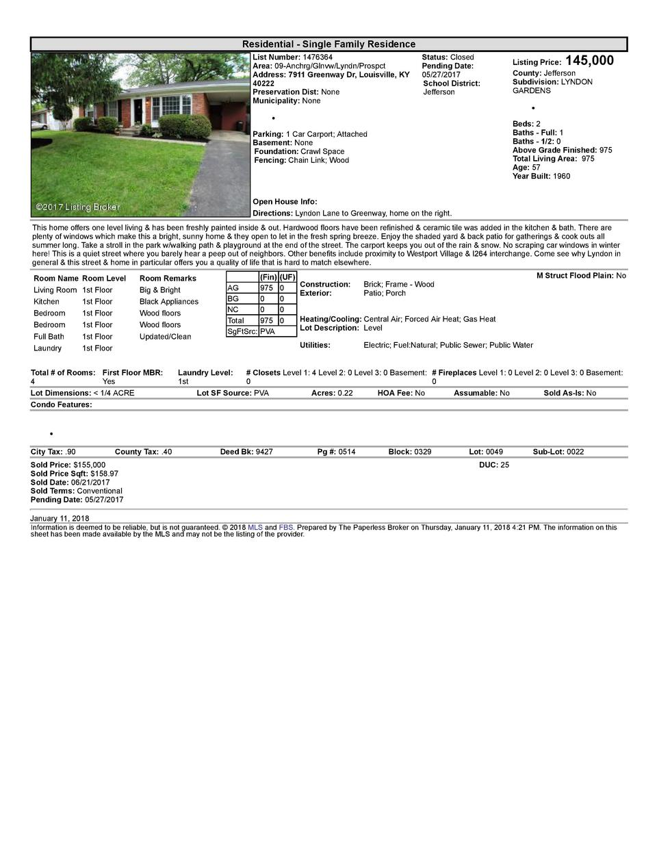 Residential      Single  Family  Residence List  Number   1476364 Area   09  Anchrg Glnvw Lyndn Prospct Address   7911 ...