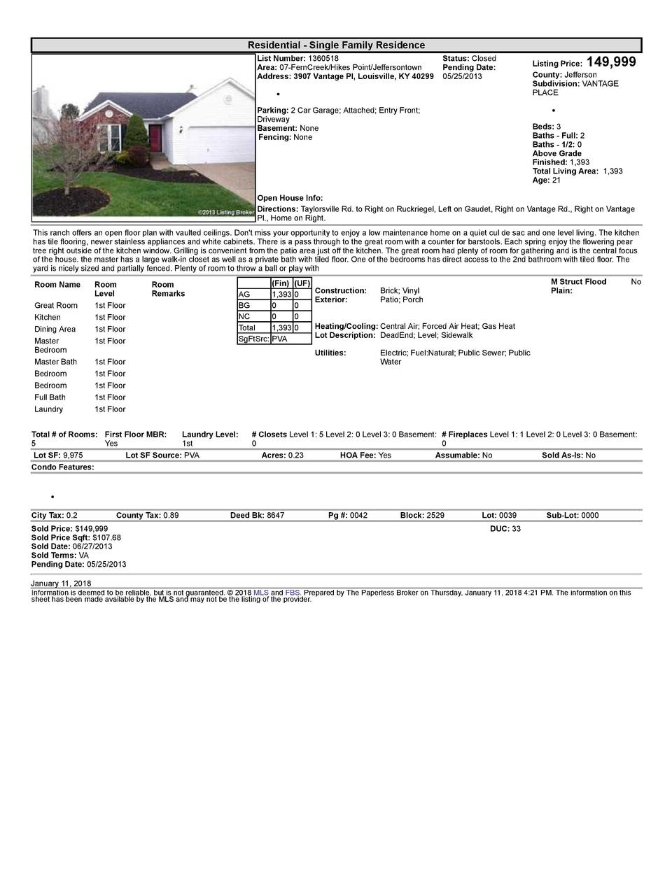 Residential      Single  Family  Residence List  Number   1360518    Status   Closed Area   07  FernCreek Hikes  Point ...
