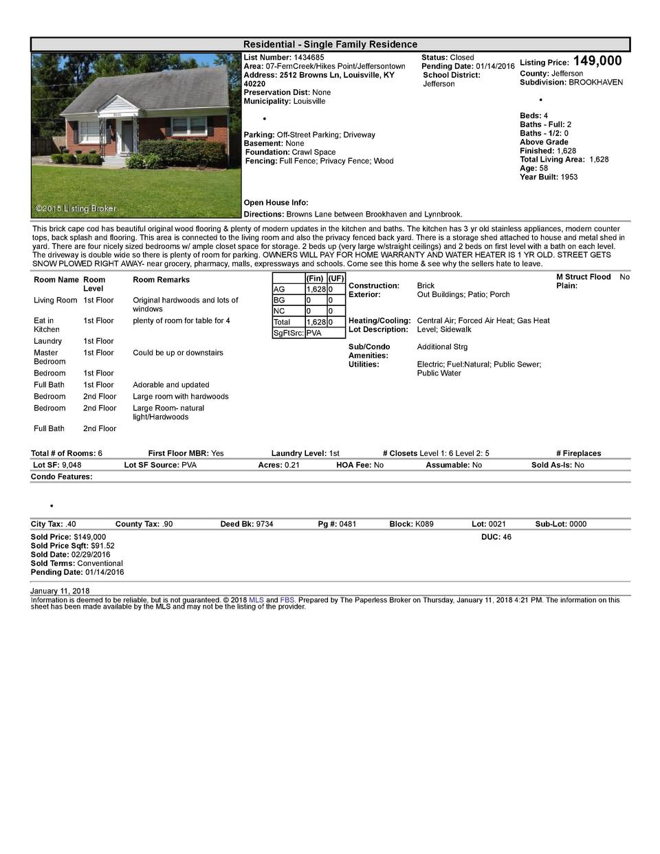 Residential      Single  Family  Residence List  Number   1434685 Area   07  FernCreek Hikes  Point Jeffersontown Addre...