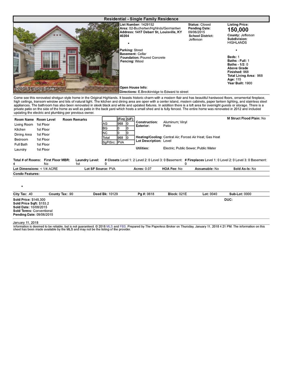 Residential      Single  Family  Residence List  Number   1429152 Area   02  Buchertwn Hghlnds Germantwn Address   1417...