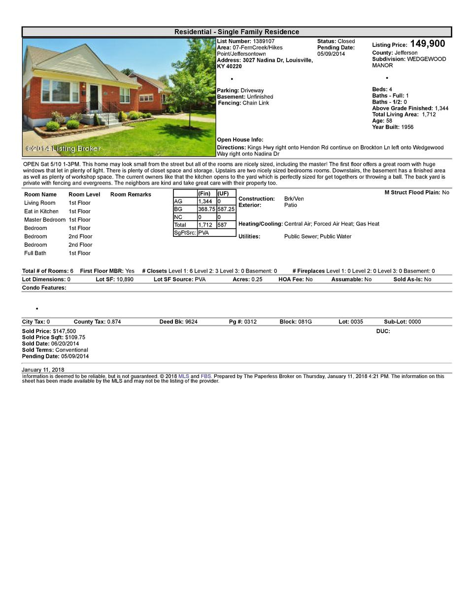 Residential      Single  Family  Residence List  Number   1389107    Status   Closed Area   07  FernCreek Hikes Pending...