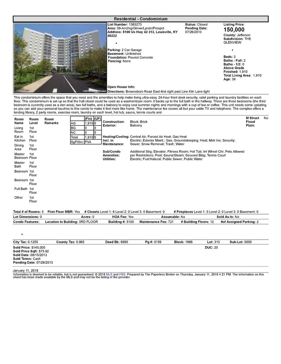 Residential      Condominium List  Number   1363273 Area   09  Anchrg Glnvw Lyndn Prospct Address   5100  Us  Hwy  42  ...
