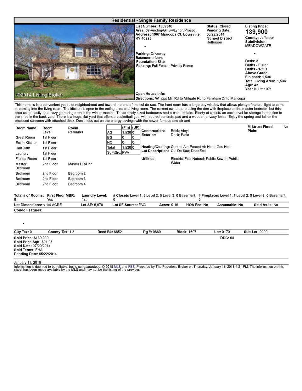 Residential      Single  Family  Residence List  Number   1389346 Area   09  Anchrg Glnvw Lyndn Prospct Address   1907 ...